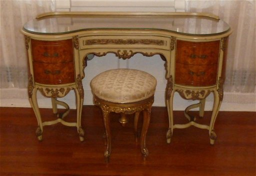 Excellent 1920S Burl Veneer Parquetry Vanity W Stool Gamerscity Chair Design For Home Gamerscityorg
