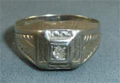 Art Deco 14kt White Gold Mens Diamond Ring