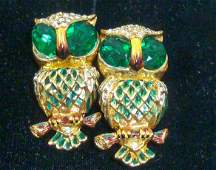 Coro Craft Sterling Duette Owl Pin Designer A.Katz
