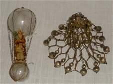Victorian Xmas Ornaments Glass Hot Air Balloon & Bell