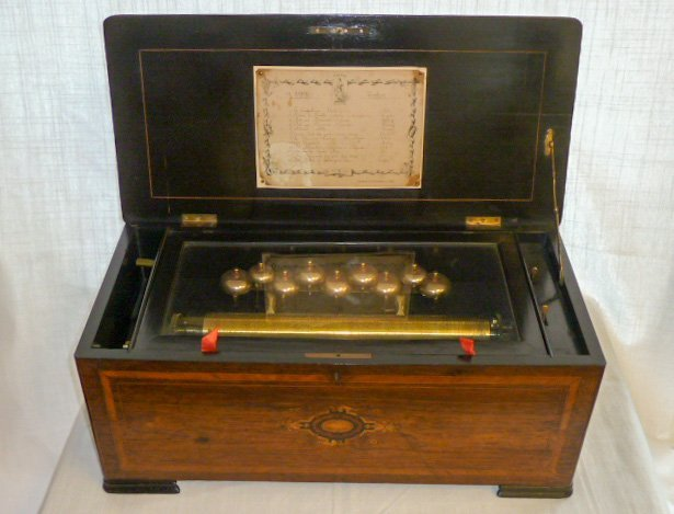 19th C. Cylinder Music Box 12 Airs & Nine Bells