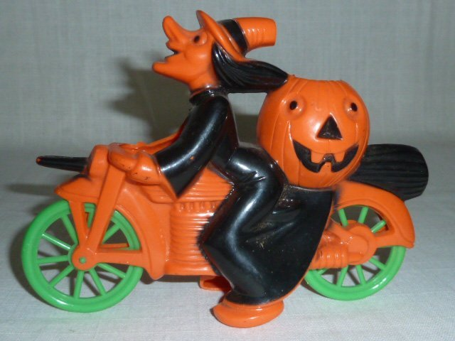 Halloween Rosbro Witch on a Motorcycle Candy Container