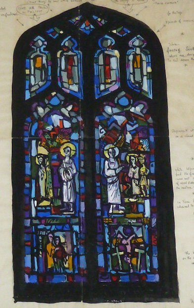 Watercolor by Robert Pinart of St Luke's Stained Glass