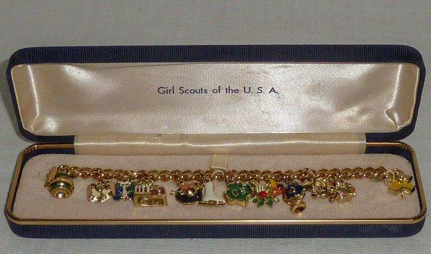 1950's Vintage Girl Scouts Charm Bracelet MIB