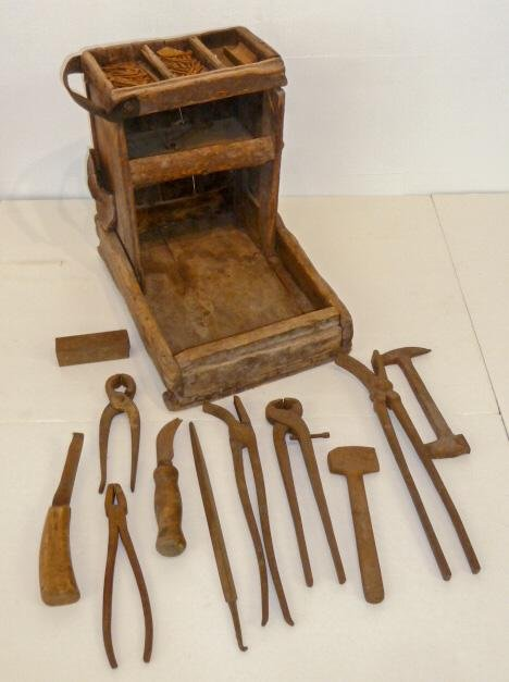 Early Authentic Farrier's/Blacksmith Tool Box w/ Tools