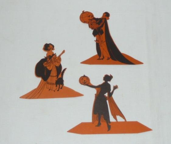 3 - 1930's Halloween Die-Cut Place Cards Buzza Co. USA