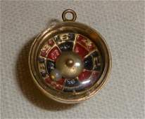 14kt Gold 3D Roulette Wheel Articulate Movable Charm