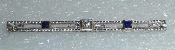 14kt White Gold Art Deco Filigree Diamond Bar Pin