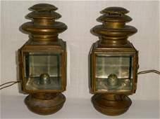 Antique Brass Carriage Lanterns Matching Pair 1900's