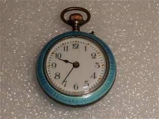 Antique Guilloche Enamel & Silver Pocket Watch