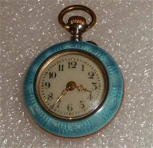Antique Guilloche Enamel & Silver Ladies Pocket Watch