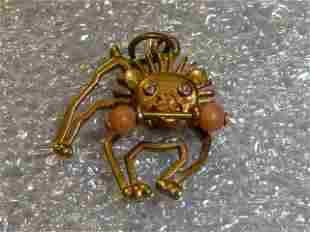 14kt Bulldog Charm w/ Diamond Eyes and Coral Bone