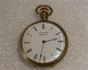 A.W.W. Co. Waltham 2 Tone Lever Set Pocket Watch