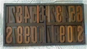 "23 Antique Industrial Printers Wood Block 7"" Letters"