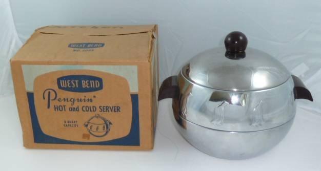 VINTAGE 1950'S WEST BEND ALUMINIUM PENQUIN SERVER W/BOX