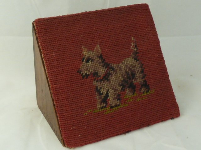 ANTIQUE VICTORIAN TAPESTRY COVERED WOOD DOORSTOP