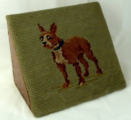 ANTIQUE VICTORIAN TAPESTRY COVERED WOOD DOORSTOP -