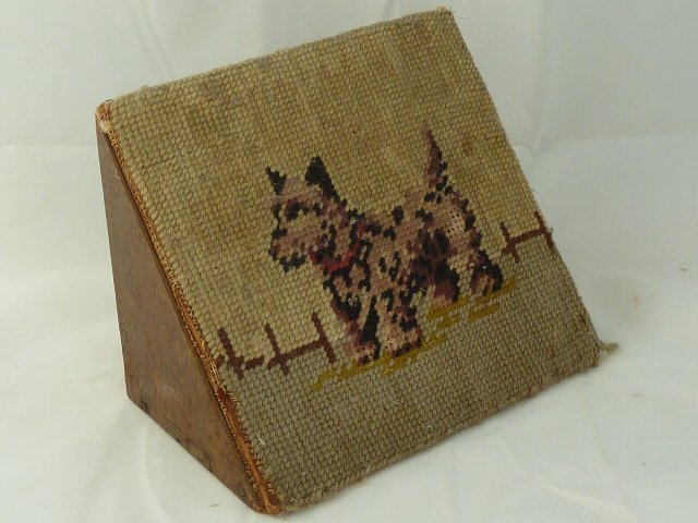 ANTIQUE VICTORIAN TAPESTRY COVERED WOOD DOORSTOP OF