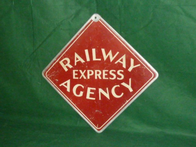 ORIGINAL RAILWAY EXPRESS AGENCY SIGN DOUBLE SIDED