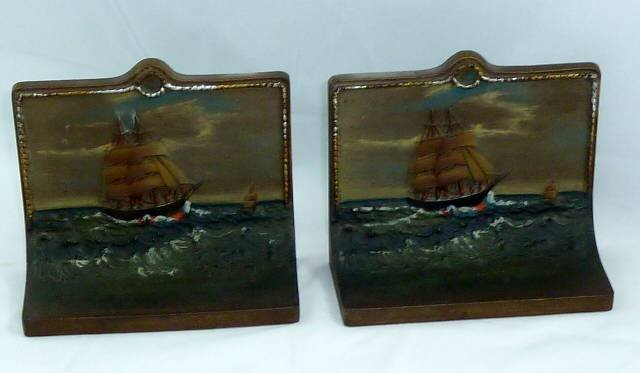 ANTIQUE BRADLEY AND HUBBARD BOOKENDS - SHIP SAILING