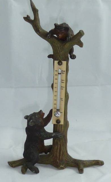 RARE METAL FIGURAL BEAR THERMOMETER 1900'S