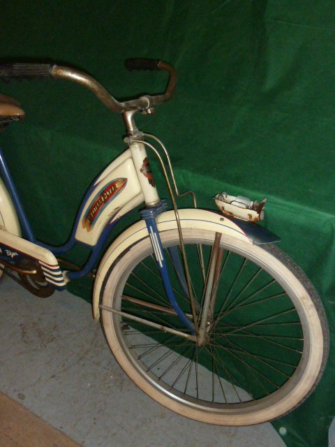 VINTAGE WESTERN FLYER BICYCLE WITH TANK 1950'S - 3