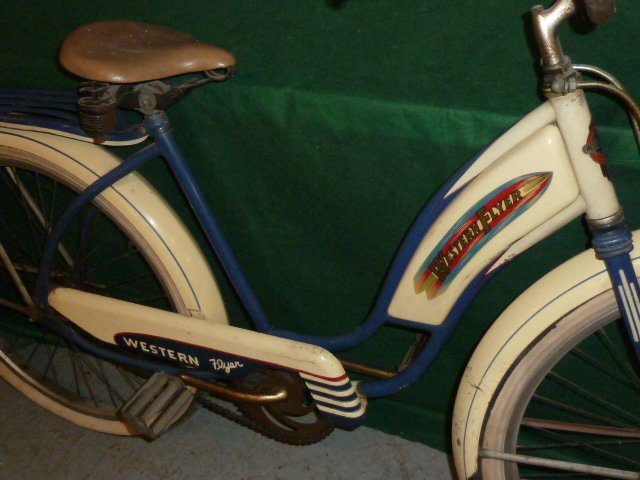 VINTAGE WESTERN FLYER BICYCLE WITH TANK 1950'S - 4