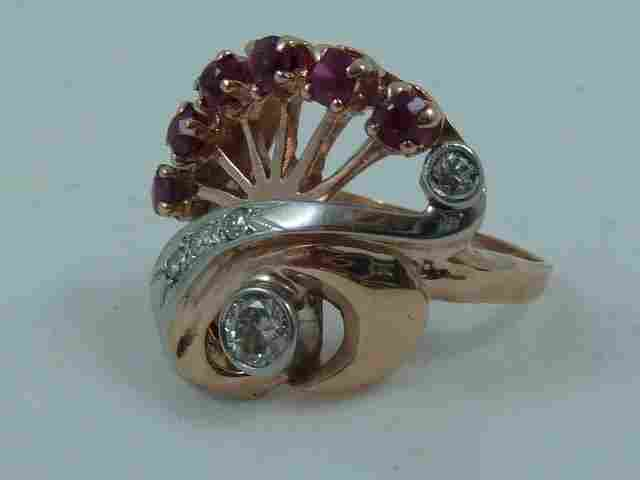 ART DECO PLATINUM,RUBY,DIAMOND,ROSE GOLD RING