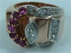 RETRO RING DIAMOND RUBIES ROSE GOLD PLATINUM