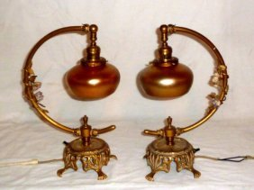 Pr Accent Lamps Steuben Shades & Bronze Mountings