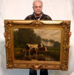 Carleton Wiggins Meadow Cow Painting 1880's