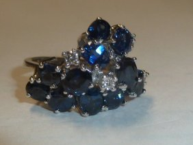 14kt Gold Ring Ceylon Sapphires & Diamonds