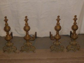 Circa 1850 Two Pair Of Bronze Andirons