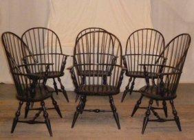6 Custom Made Windsor Arm Chairs