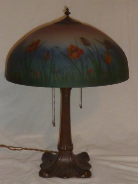 Reverse Painted Table Lamp Attributed Handel