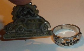 German Volkswagon Pin & German Wwi Ring