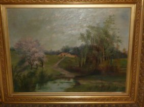 1900's Oil Painting Country Landscape