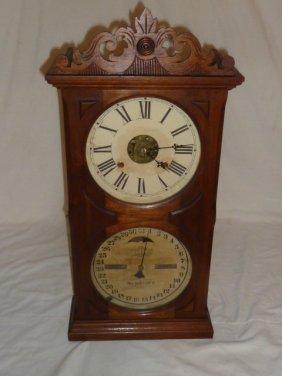 Victorian Double Dial Calendar Shelf Clock