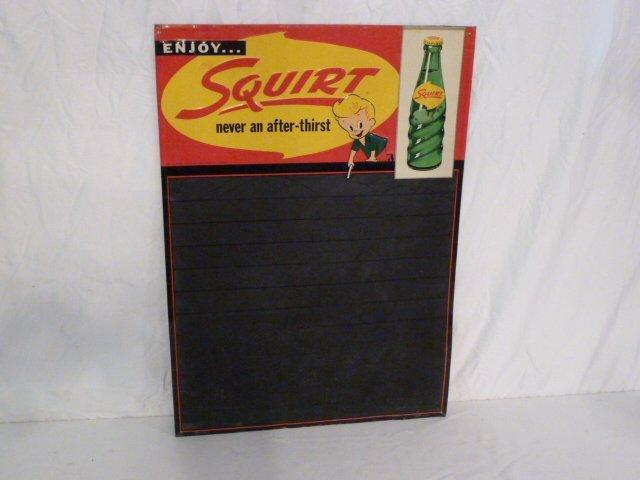 SQUIRT SODA DIE-CUT TIN DINER MENU BOARD