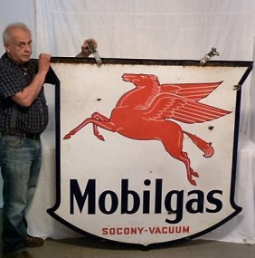 Mobilgas Double Sided Porcelain Pegasus Sign