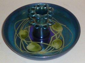 Tiffany Blue Favrile Center Bowl W/ Flower Frog
