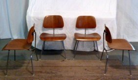 4 Eames Molded Plywood Chairs Herman Miller