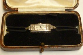 Vintage Platinum Ladies Watch Diamonds