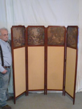 Mahogany Dressing Screen W/ 4 Idyllic Scenes