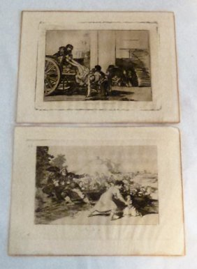 Pair Of Early Engravings By Francisco Goya