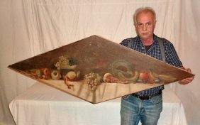 C1900's O/canvas Still Life Fish Bowl & Fruit