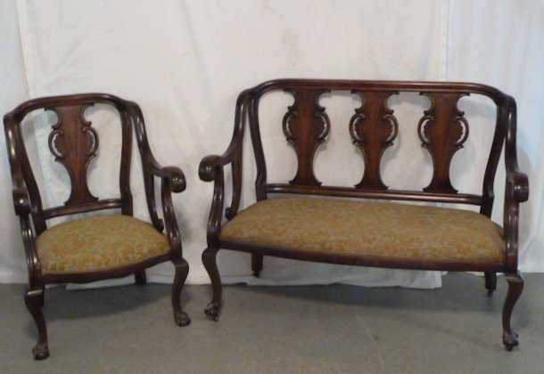 MAHOGANY SETTEE AND CHAIR PARLOR SET 1900'S