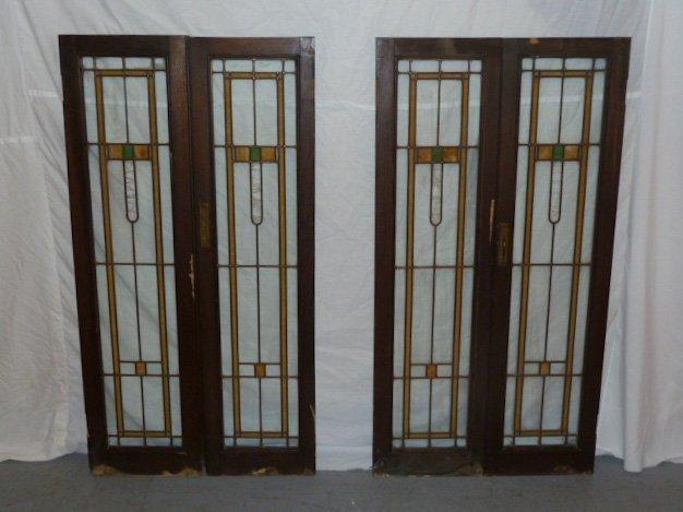 SET 4 FRANK LLOYD WRIGHT ERA LEADED GLASS WINDOWS