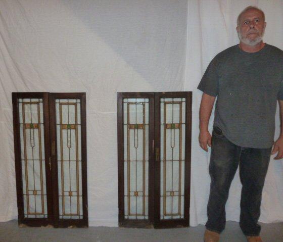SET 4 FRANK LLOYD WRIGHT ERA LEADED GLASS WINDOWS - 5