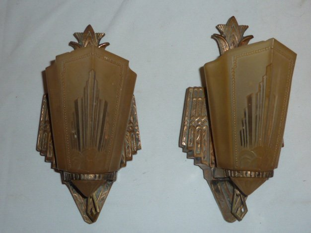 MATCHED PAIR ART DECO SLIP SHADE WALL SCONCES